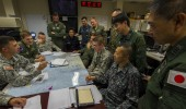 Planners from the U.S. military and Japan Self-Defense Forces discuss missile defense in a February exercise. (USAF)